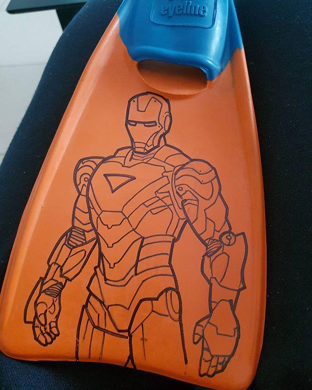 Bit of flipper customisation for a little buddy #ironman #marvel #comic #sharpie #flipper #avengers