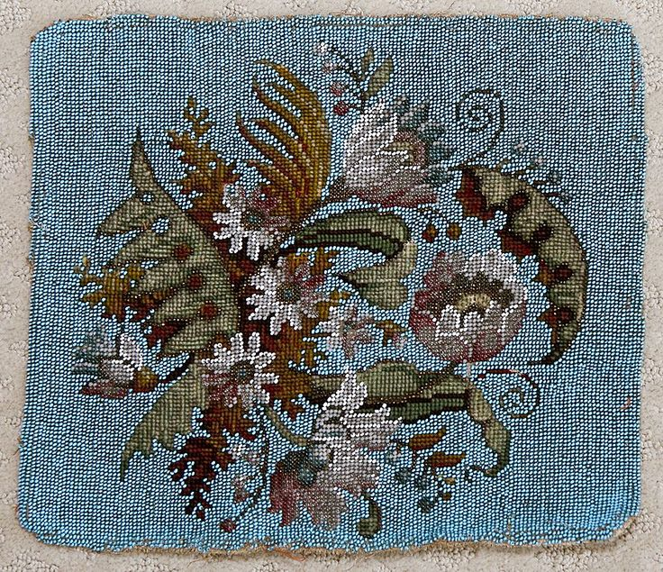 Fine Victorian Beaded Needlepoint, Beadwork Panel - Perfect to use in making throw pillow