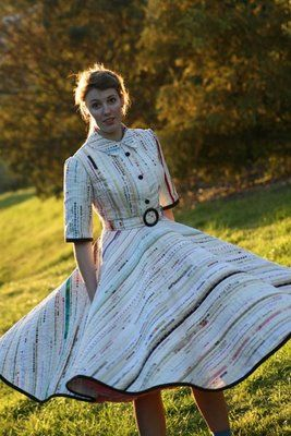 A dress made completely out of fabric selvages... very impressive!