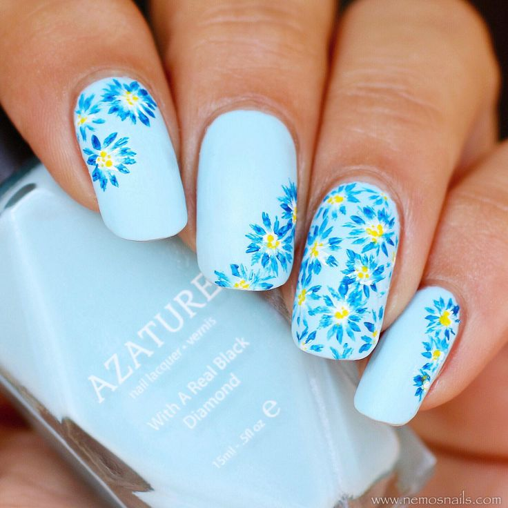 Summertime Floral Nail Art using Azature: Light Blue Diamond nail polish as a base, Blue & Yellow flowers