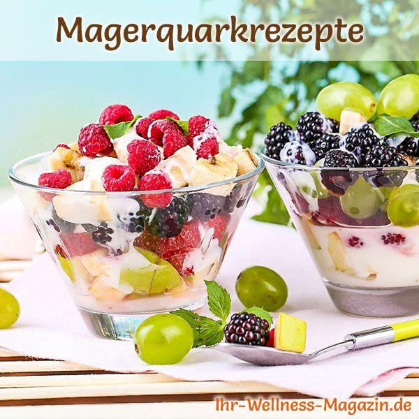 Rezept für einen fruchtigen Obstsalat mit Quarkcreme mit viel Eiweiß - und weitere leckere Magerquark-Rezepte zum Abnehmen ...