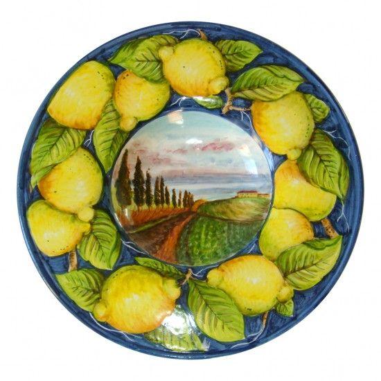 plate with tuscany landscape - ARTESIA Hand-Made Ceramics Workshop