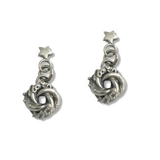 Sophie Harley London Little star with tiny love knot drop earrings. All silver.