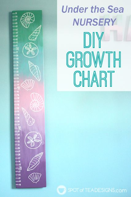DIY portable growth chart for an under the sea themed baby nursery. #nursery #craft #diy @Decoart_inc | spotofteadesigns.com