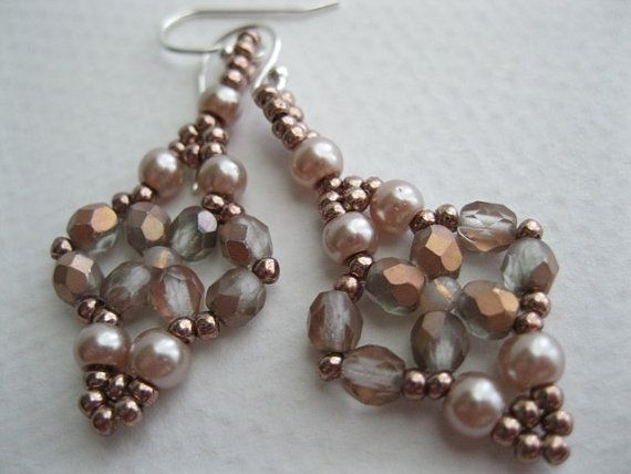 Almond pearl and crystal copper earrings by BeadALittleDream, $14.00