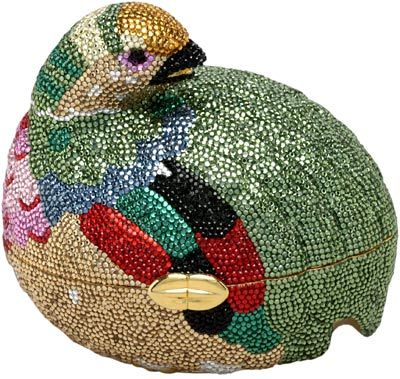 Judith Leiber is perhaps best known for her rhinestone-covered handbags, purses, and boxes, which are known as minaudieres. This one from 1980 is shaped like a grouse.  (I love you, Judith Leiber!)