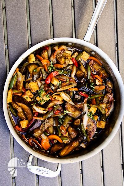 Thai Basil Eggplant - one pinned says: VERY good, even the hubby loved it and could not stop talking about the tasty sauce and eggplant texture. Would be great to try over noodles next time. 290 calories for veggies/sauce when recipe is split into 5 servings. Vegan.