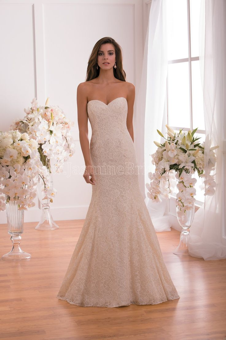 Simple Jasmine Collection Wedding Dress Style F in Gold A simple and elegant silhouette is made
