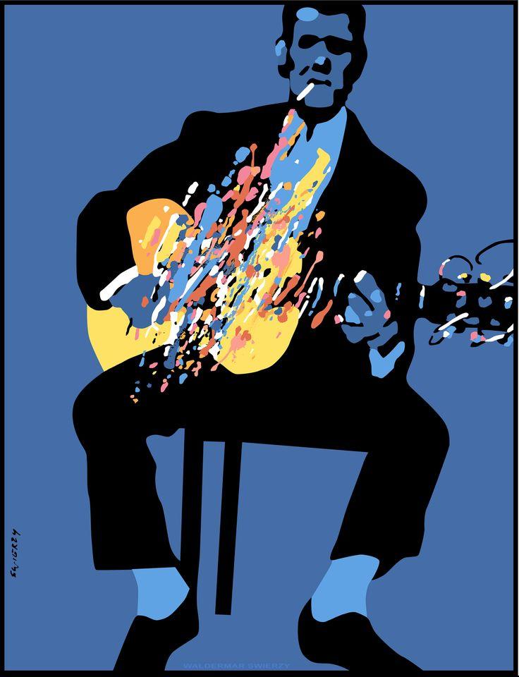 Waldemar Swierzy - Glowing Guitar (Fine Art Print / Polish Poster Art)