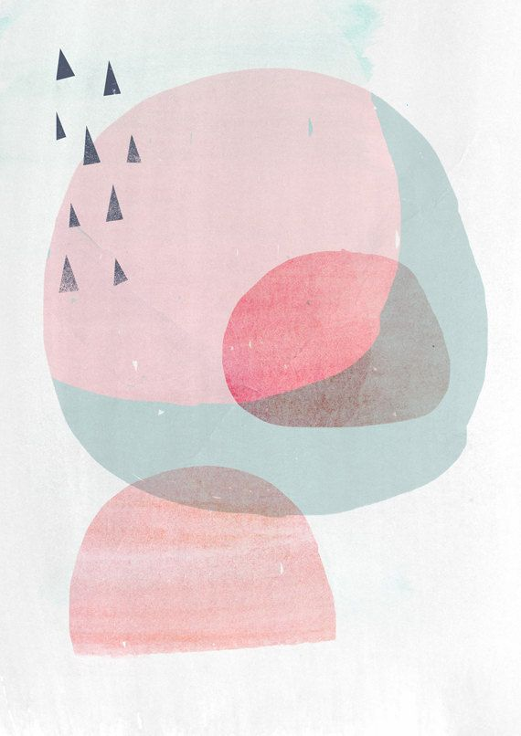 8x10 Abstract minimal art geometric shapes Peach by AMMIKI