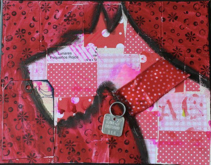 "Bo-ho style Scotty Dog Card - 4x6"" -red, blank inside"