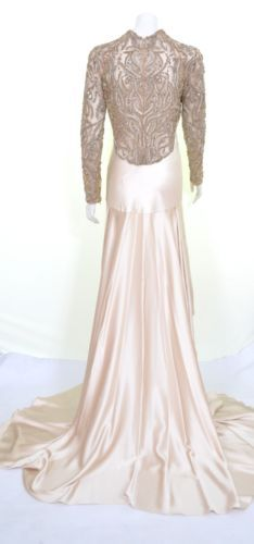 ALEXANDER-McQUEEN-2010-FERN-EMBROIDERY-NUDE-GOWN-DRESS-UK-10-US-8-IT-42-RARE