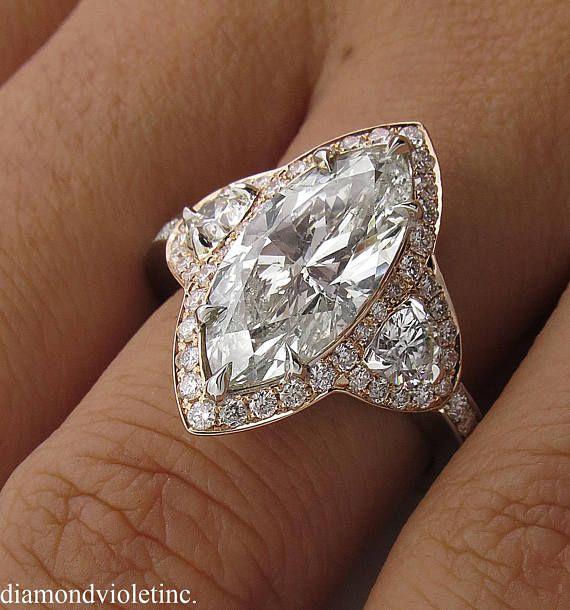 4 27ct Estate Vintage Marquise Diamond 3 Stone Engagement Engagement Rings Marquise Wedding Rings Vintage Diamond