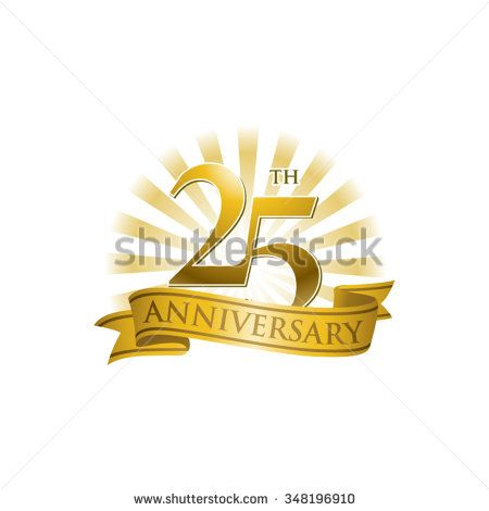 25th anniversary ribbon logo with golden rays of light