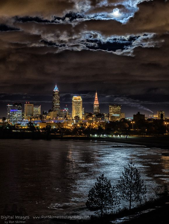 November Full Moon Over Cleveland (by Ron Skinner Photography