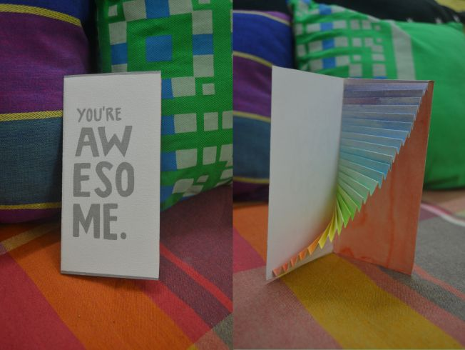 Rainbow pop up card. You're Awesome.