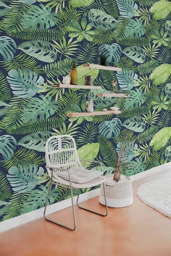 Tropical Meeting Removable Wallpaper Pattern 250 Etsy Removable Wallpaper Pattern Wallpaper Green Home Decor