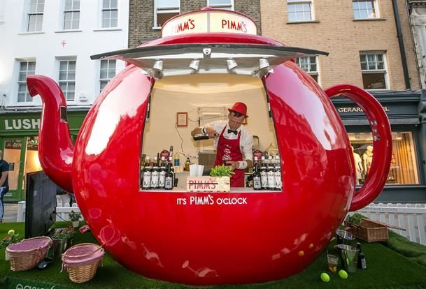 Branded Experiential Pop-Up Bars - This Fun Pimm's Pop-up Teapot Bar Was at Wimbledon 2015 (GALLERY)