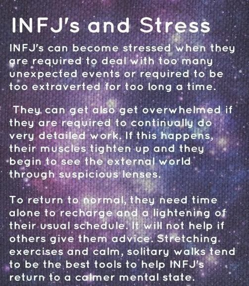 INFJ - stretching excercises, solitude and walks