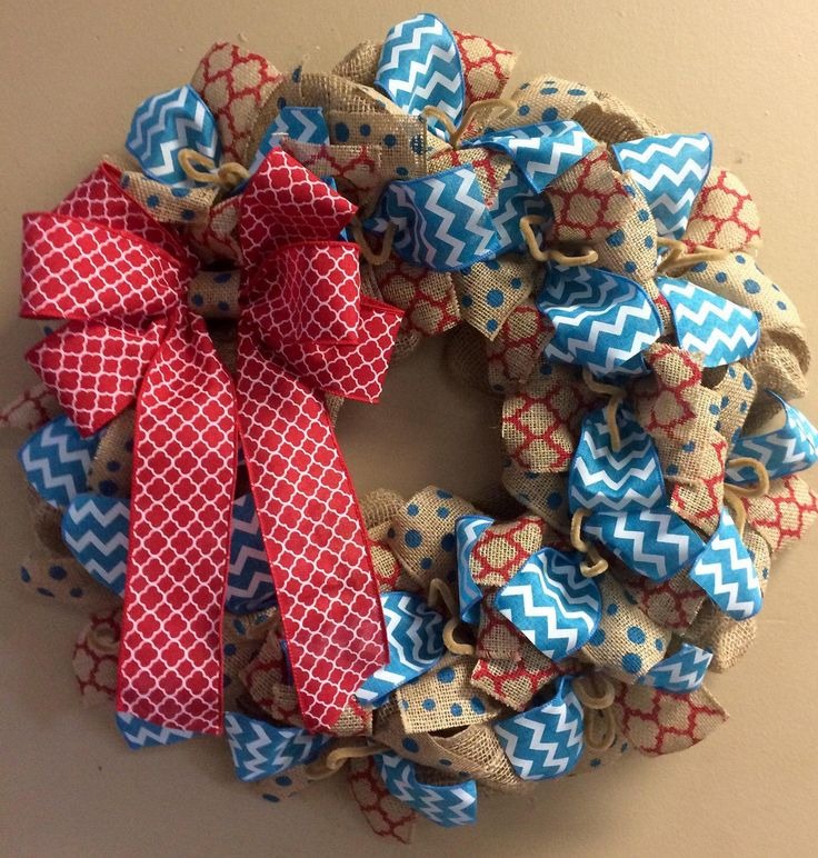 Wreath it! Burlap Wreath Wall Hanging-Natural Burlap, Red Teal - Made with our Patent Pending Wreath it! Base