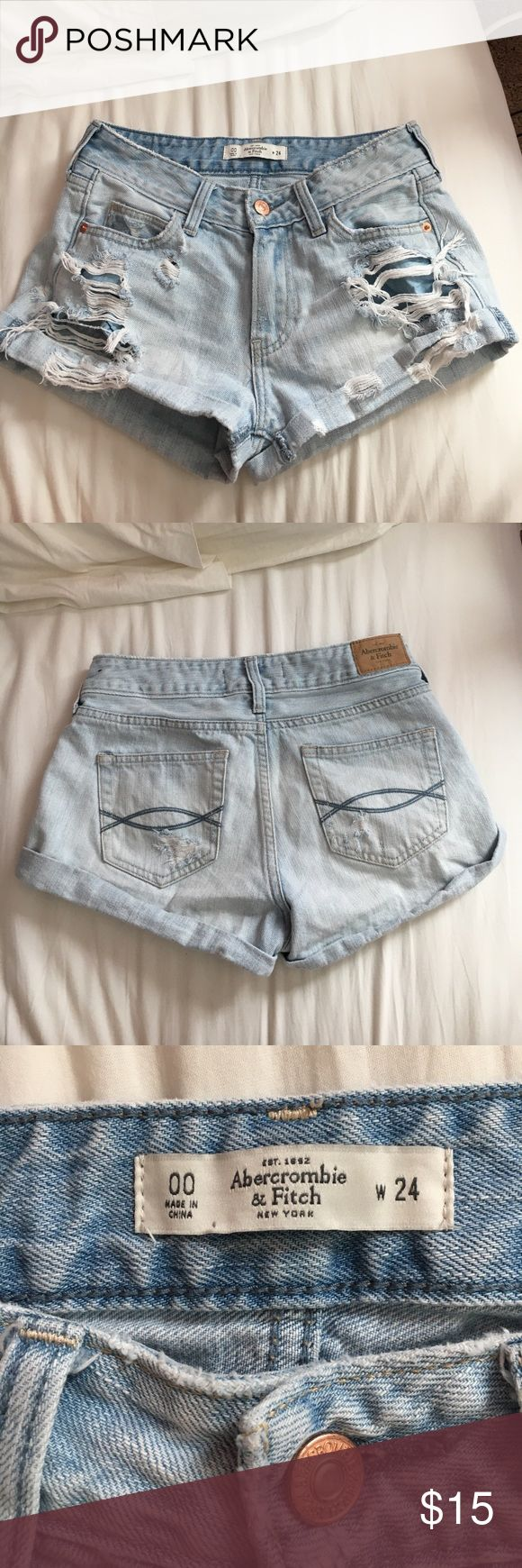 Abercrombie & Fitch Light Wash Distressed Shorts Size 00, W24! Distressing and color is very cute and pairs well. Comfortable denim! Barely worn as it does not fit me, condition is like new! Abercrombie & Fitch Shorts Jean Shorts