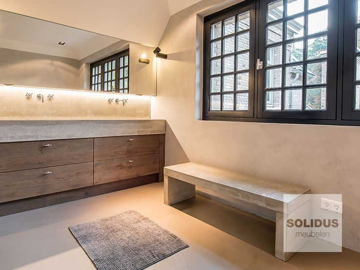 Hout En Beton : Badkamermeubel hout en beton