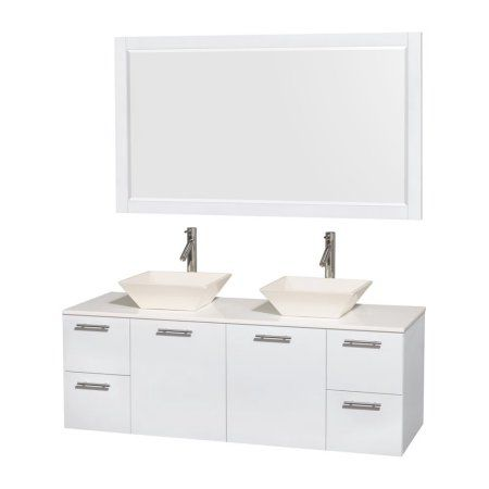 Wyndham Collection Amare 60 inch Double Bathroom Vanity in Glossy White, White Man-Made Stone Countertop, Pyra Bone Porcelain Sinks, and 58 inch Mirror