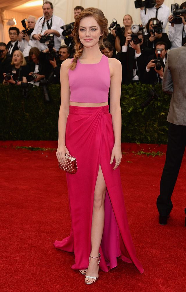 Emma Stone colorblocking on the red carpet