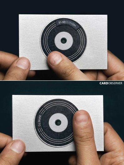 dj business card -- great idea for my personal DJ, my husband..