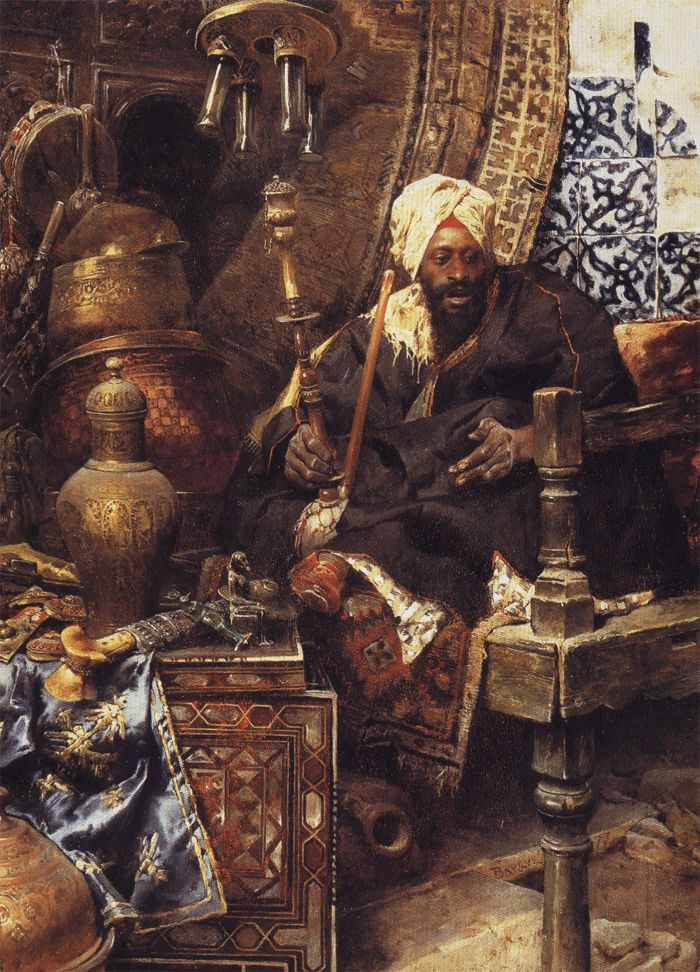 Arab Merchant Among His Antiques 1877 painting by Charles Bargue