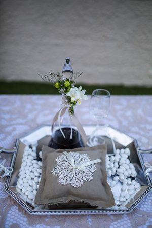 vases, flowers and handmade vintage ring-bearer pillow