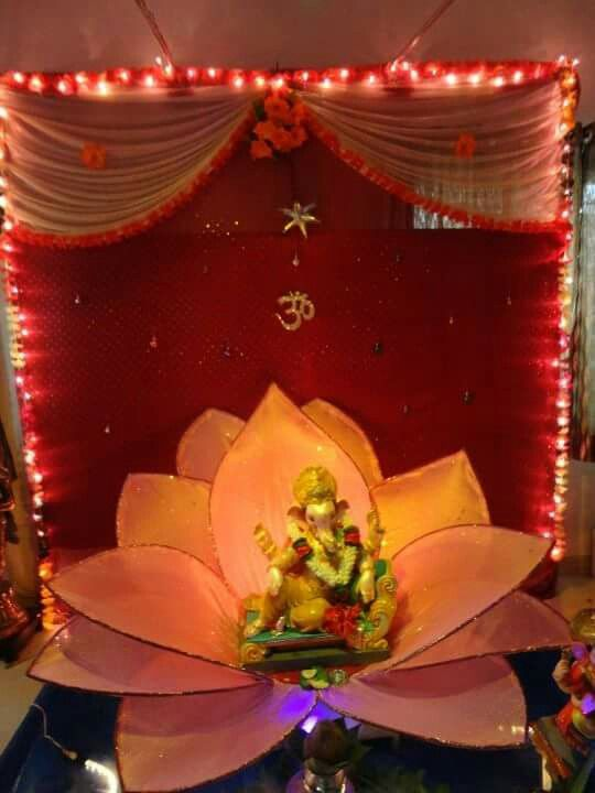 38 best images about ganpati decoration on pinterest for Decorations for diwali at home