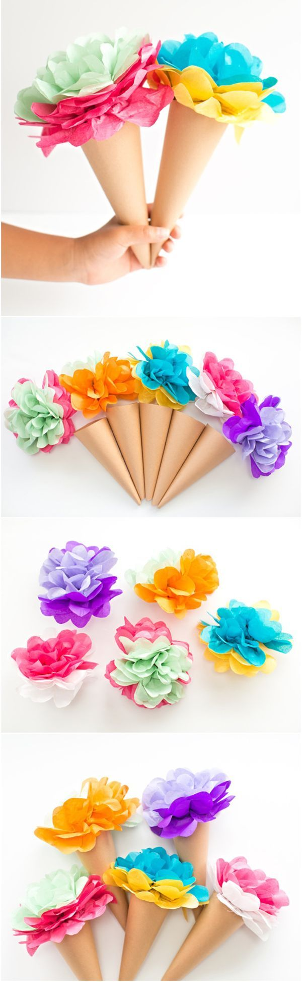 DIY Tissue Paper Ice Cream Cone Flowers. Adorable colorful paper craft for kid and a sweet way to celebrate any special occasion, summer or ice cream party!