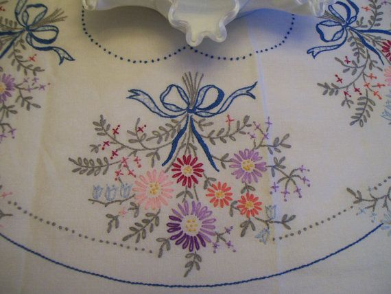 Vintage Embroidery Tablecloth Hand Stitched by FabVintageEstates, $34.50