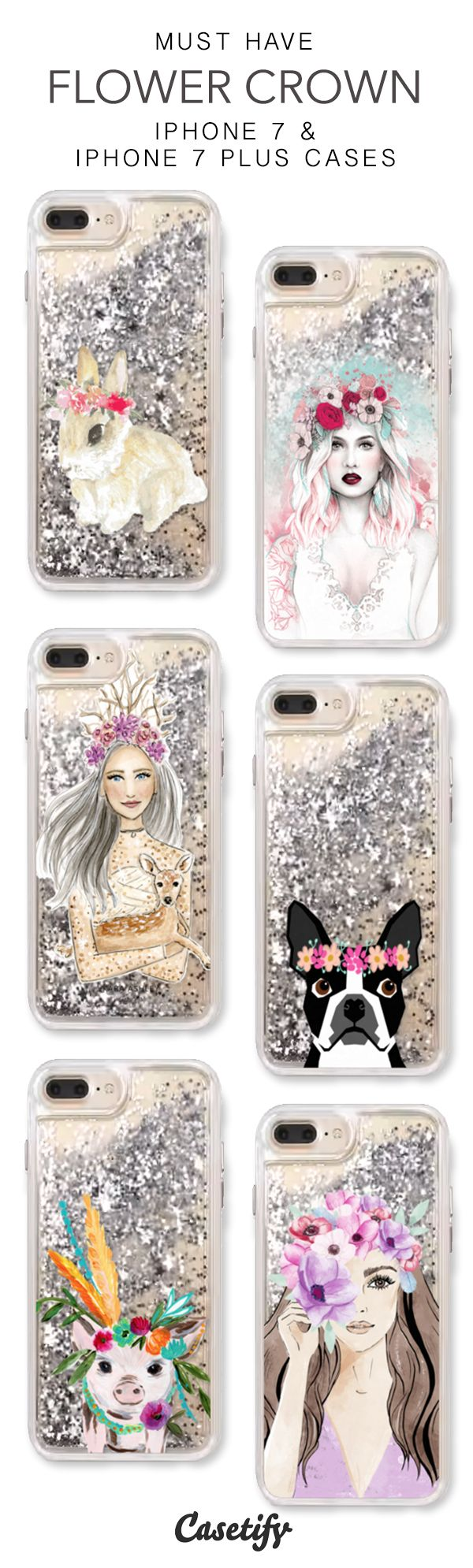 Must Have Flower Crown iPhone 7 Cases & iPhone 7 Plus Cases. More protective liquid glitter floral iPhone case here > https://www.casetify.com/en_US/collections/iphone-7-glitter-cases#/?vc=Rr0faYDjix