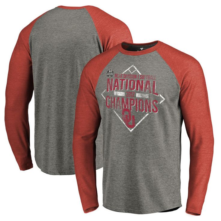 Oklahoma Sooners Fanatics Branded 2017 NCAA Women's Softball College World Series National Champions Diamond Raglan Long Sleeve T-Shirt - Heather Gray/Crimson