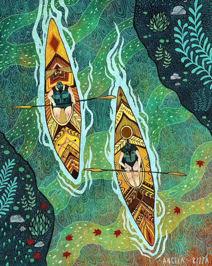 Fall Kayaking by AngelaRizza.deviantart.com on @deviantART