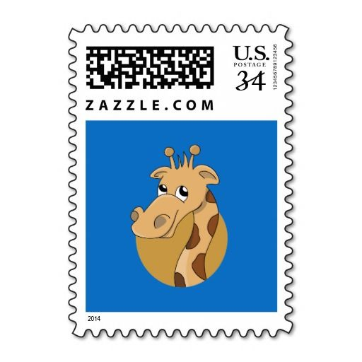 Cartoon giraffe postage stamp