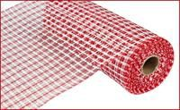 Narrow Red and White Plaid Basket Weave by CreationsbySaraJane