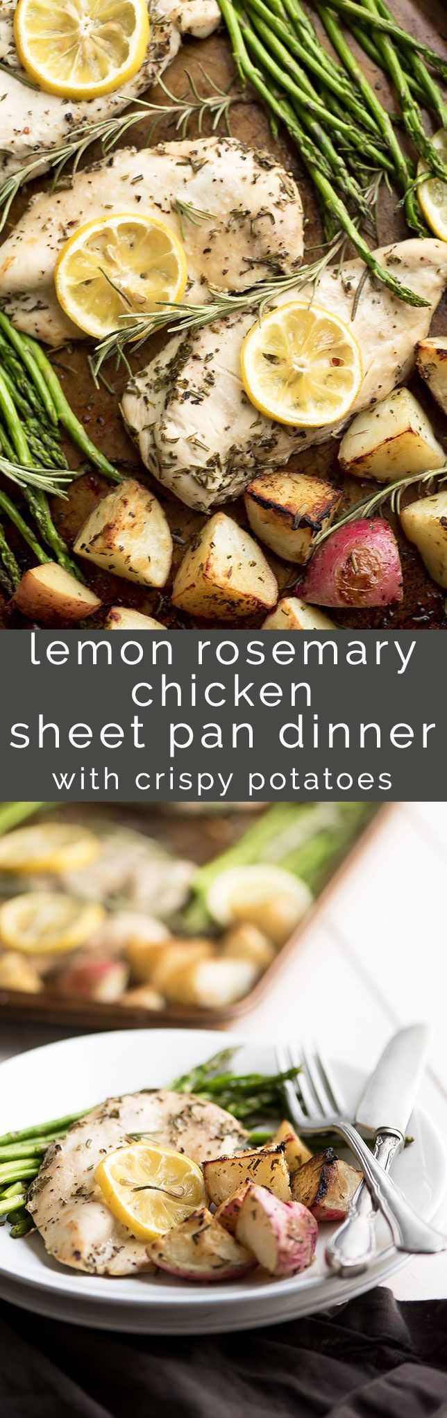 Lemon Rosemary Chicken Sheet Pan Dinner with Crispy Potatoes is the holy grails of dinner! Garlic, crispy potatoes are cooked right along lemon rosemary scented asparagus and chicken, on one pan!