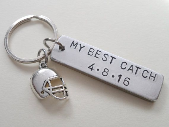 Anniversary Keychain Football Keychain Couples by JewelryEveryday