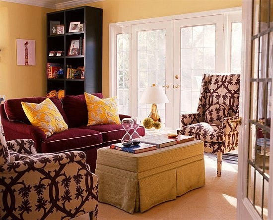 living room-yellow wall, burgundy couch, patterned pillows? | Our First  Apartment! | Pinterest | Other, Chairs and Furniture - Living Room-yellow Wall, Burgundy Couch, Patterned Pillows? Our