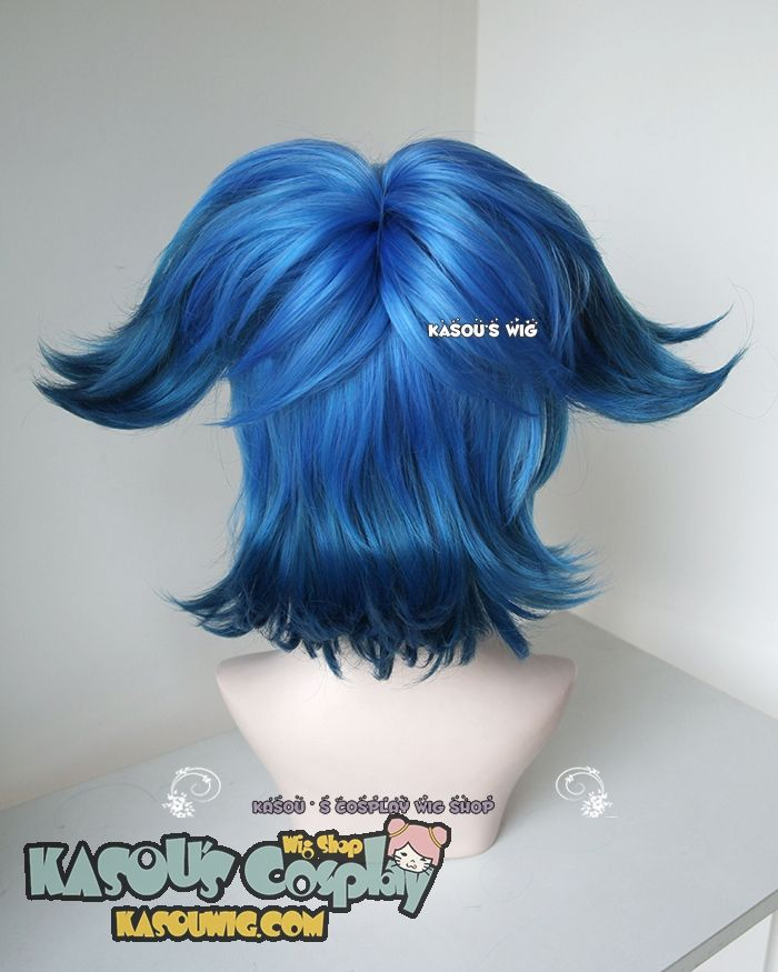 [ Kasou Wig ] Touken Ranbu 刀剣乱舞 Sayo Samonji cobalt blue ombre cosplay wig with two clip-on ponytails