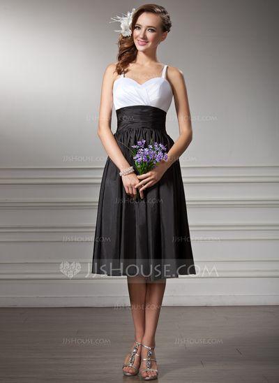 [US$ 94.99] Empire Sweetheart Knee-Length Taffeta Bridesmaid Dress With Ruffle