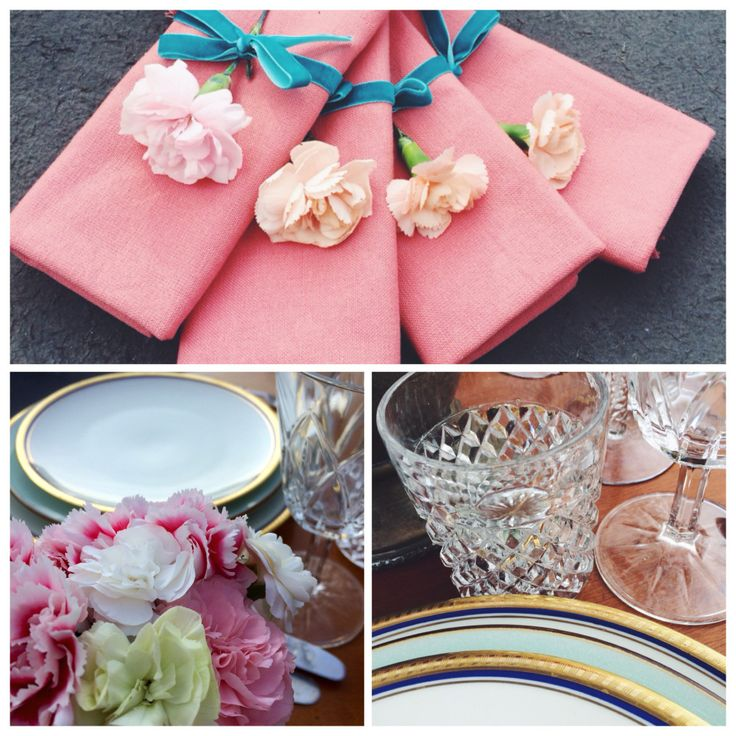 Pink napkins and cloves decor. Vintage cutlery. Bavaria porcelain plates.