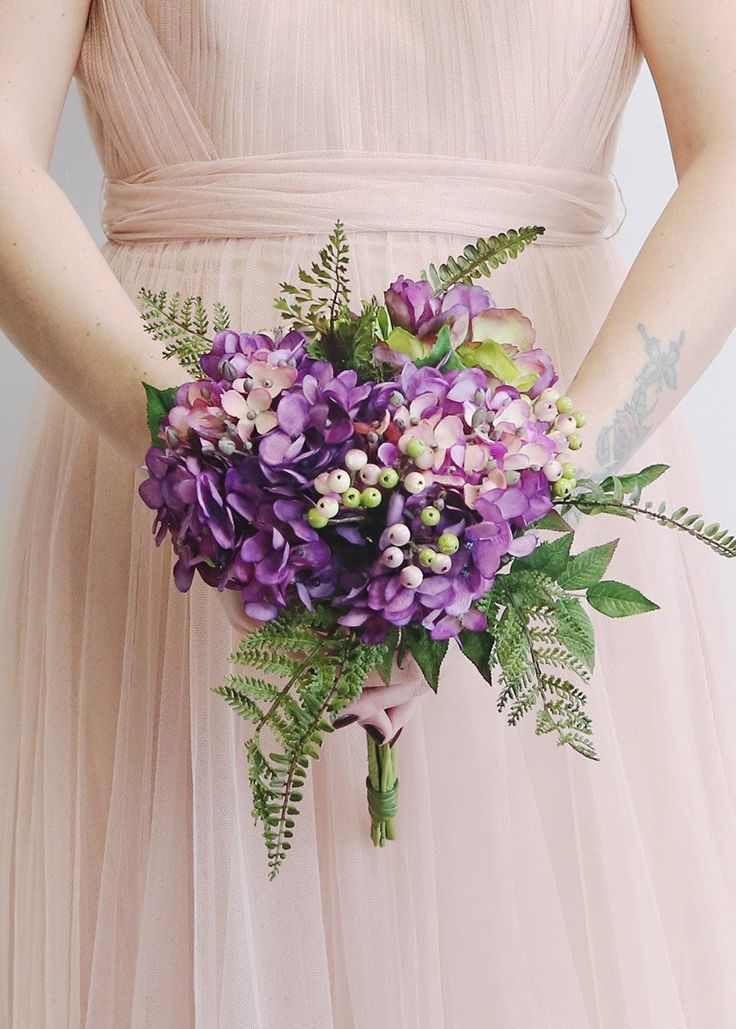 Brand new, hassle-free artificial bouquets at Afloral.com for your upcoming DIY spring wedding! This one features gorgeous plum purple hydrangeas and berries.