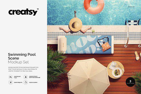 Swimming Pool Scene Mockup Set by Creatsy on @creativemarket