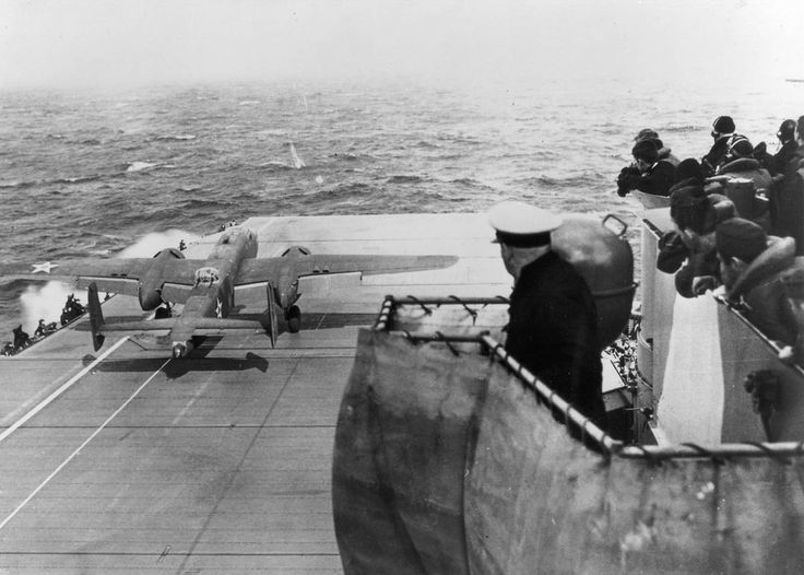 Mitchell B-25 taking-off from USS Hornet (CV-8) on the Doolittle Raid, April 18, 1942. #15B