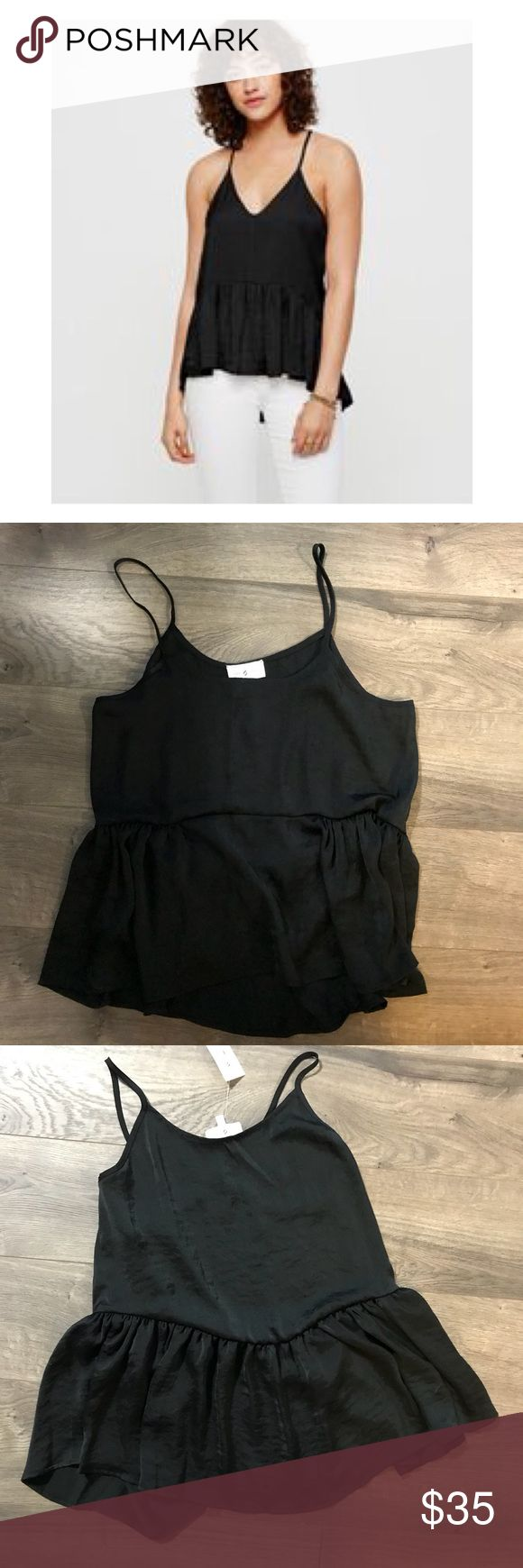 MWT Lou & Grey Luster Peplum Black Cami Comfy yet classy black strappy cami from Lou & Grey featuring a cute peplum for added interest. New with tags. Size small.   Measurements:  Armpit to Armpit: 16 Inches  Shoulder to Bottom Hem: 23 Inches Lou & Grey Tops Camisoles
