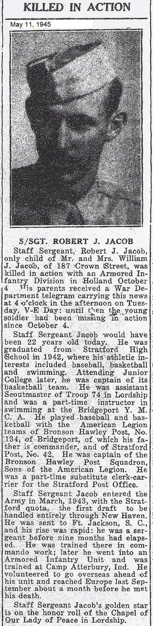 Stratford, CT WWII - he graduated from Stratford High School